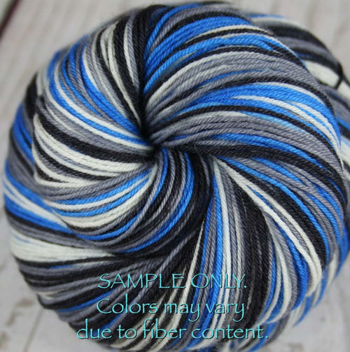 Dyed-To-Order: BLUE-GRAY-BLACK-WHITE - Hand dyed Sports Team Self Striping Sock Yarn - DETROIT