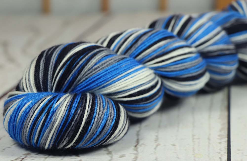 BLUE - GRAY - BLACK - WHITE: SW Merino-Nylon - Sports Team Self Striping Sock Yarn - DETRIOT