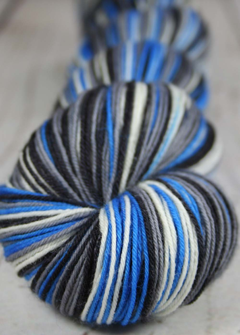 "Dyed-To-Order: Sports Team Self Striping Sock Yarn - ""BLUE-GRAY-BLACK-WHITE"" - Hand dyed - DETROIT"