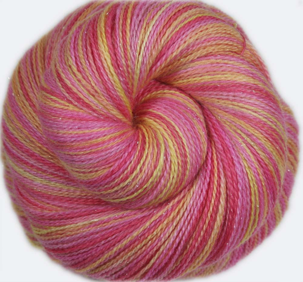 LOVE SHACK: Superwash Merino-Silk-Stellina Sparkle - Hand-dyed Lace Weight Yarn - 875 yards - Variegated Lace Yarn - Pink Sparkle lace yarn
