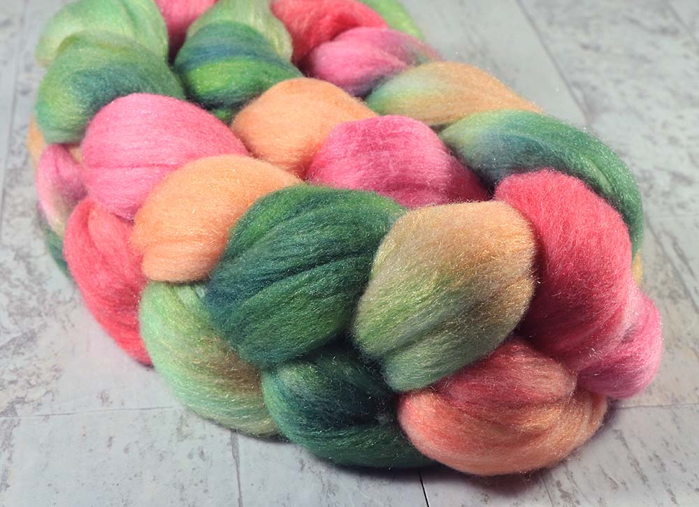LOVE: Polwarth Merino Bright Nylon roving - 4.0 oz - Hand dyed Spinning wool