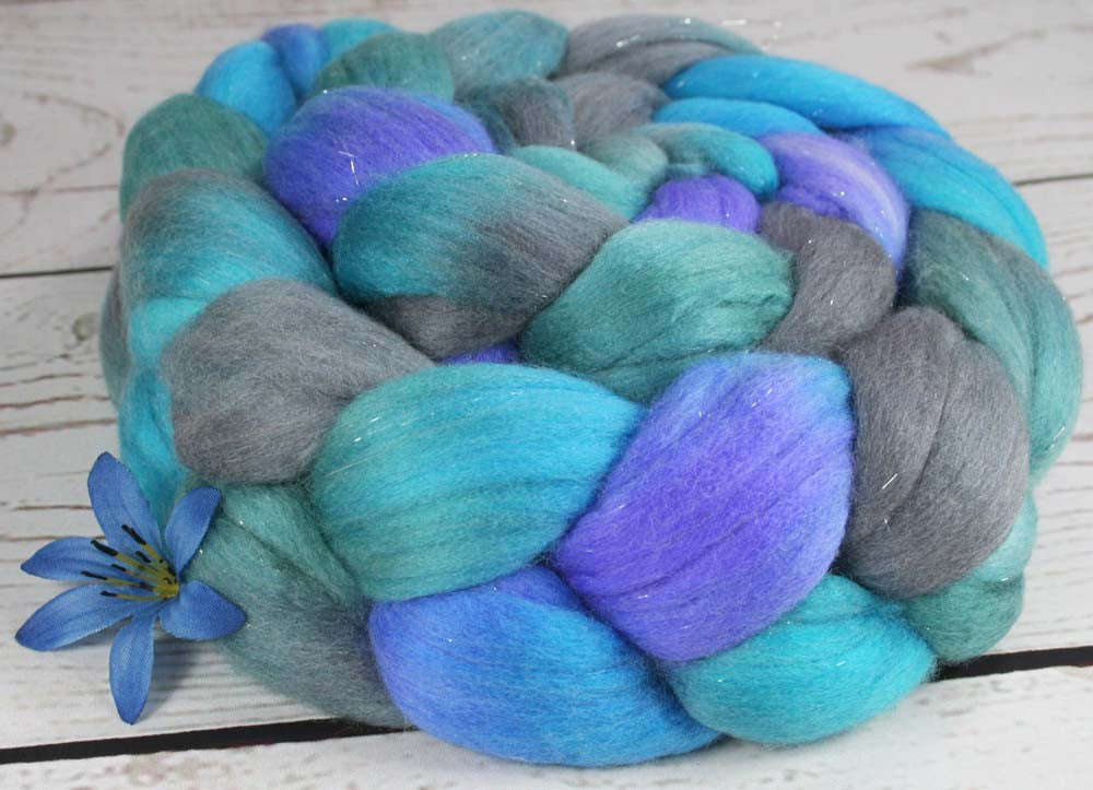MAD SCIENTIST: BLUES OOAK - Superwash Merino - Nylon - Stellina Wool Top - Hand dyed wool - Indie dyed wool - Hand dyed roving - Sparkle wool - Spinning wool - One of a Kind