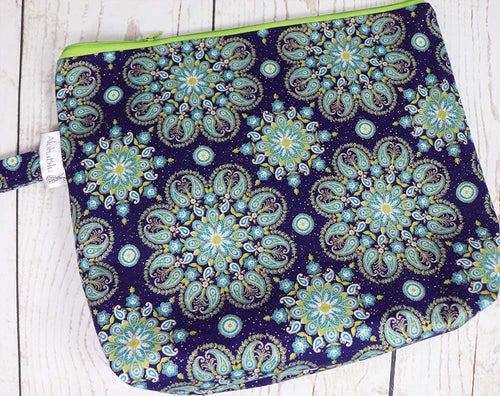 MANDALA Project Bag - handmade zipper project / knitting bag