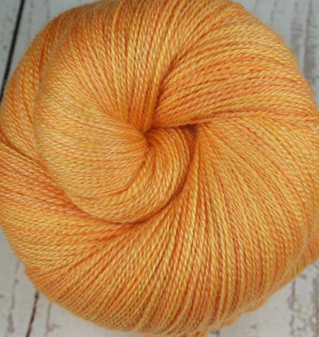MANGO SORBET: Superwash Merino-Silk-Stellina Sparkle Lace yarn - Hand-dyed Lace Weight Yarn - 875 yards - Tonal Lace yarn - Orange Peach yarn - Tropical fruit yarn