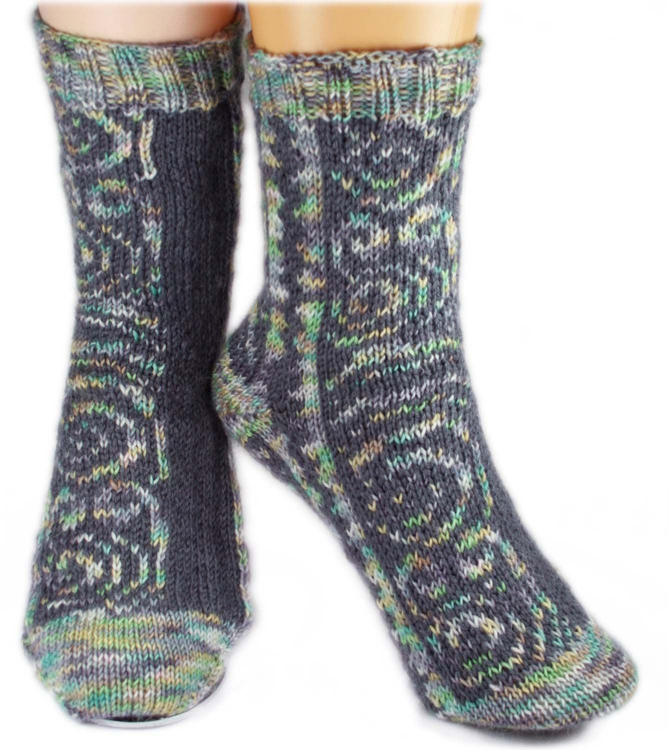 KNITTING PATTERN for Maori Tattoo Socks -  Charted Sock pattern - digital download - Colorwork Stranded knitting