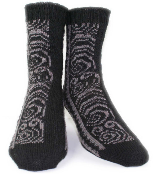 KNITTING PATTERN for Maori Tattoo Socks -  Charted Colorwork Sock pattern - digital download