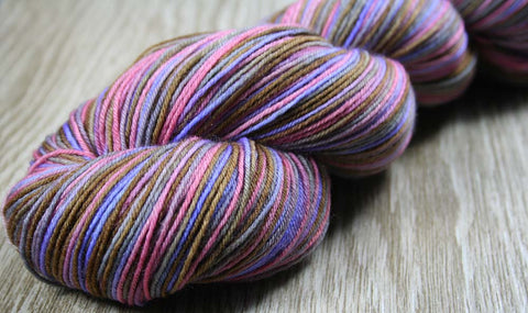 RASPBERRY MACARON 2: SW Merino-Lurex Sparkle - Hand dyed Variegated Sock yarn