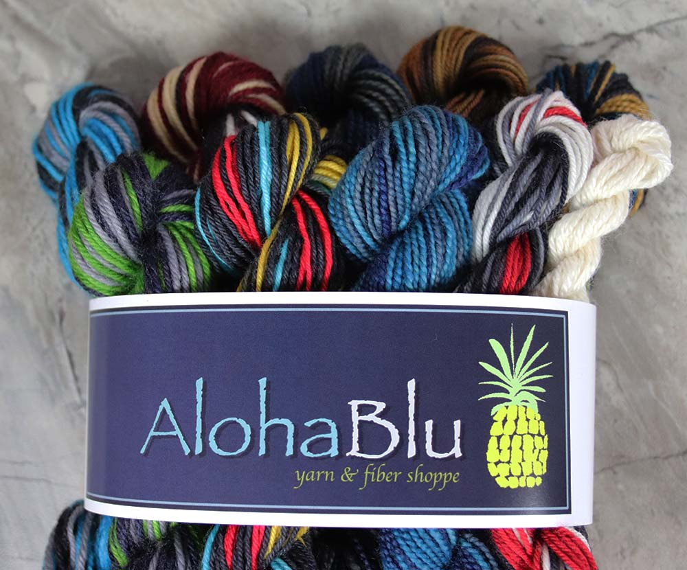 "MENEHUNE MINI SKEINS ""Self-Stripe Set"": 10x-10gram Hand-dyed Sock yarn - Center pull balls"