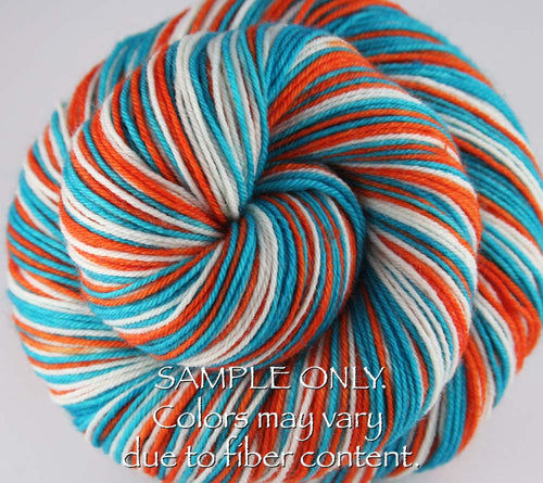 Dyed-To-Order: AQUA-ORANGE-WHITE - Hand dyed Sports Team Self Striping Sock Yarn - MIAMI
