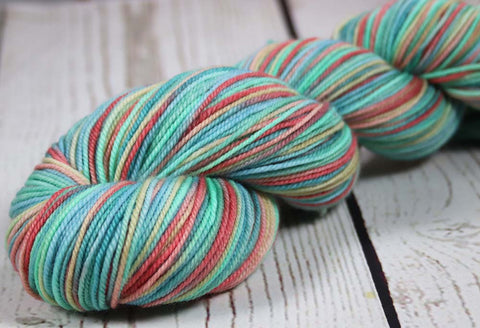 BALI HAI AT DUSK - SW Merino / Nylon - Hand dyed variegated sock yarn - tight twist
