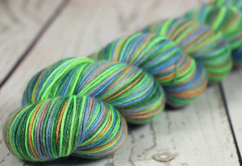 FLOWER GARDEN: SW Merino-Silk - Hand dyed Variegated sock yarn - 600 yards