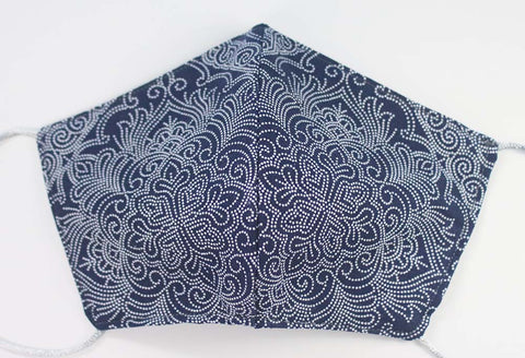 BATIK BLU Project Bag - Handmade zipper bag - knitting bag - craft bag