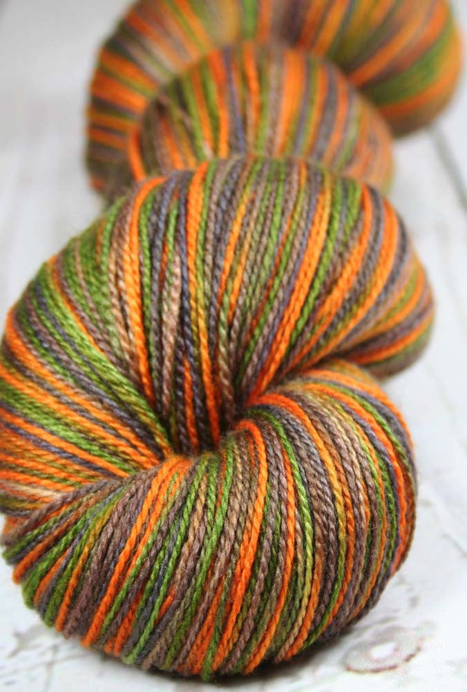 DARK CAMO: Superfine Merino-Silk - Hand dyed Lace Weight Yarn - Camouflage