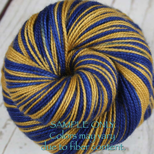 Dyed-To-Order: BLUE-GOLD - Hand dyed Sports Team Self Striping Sock Yarn - INDIANA