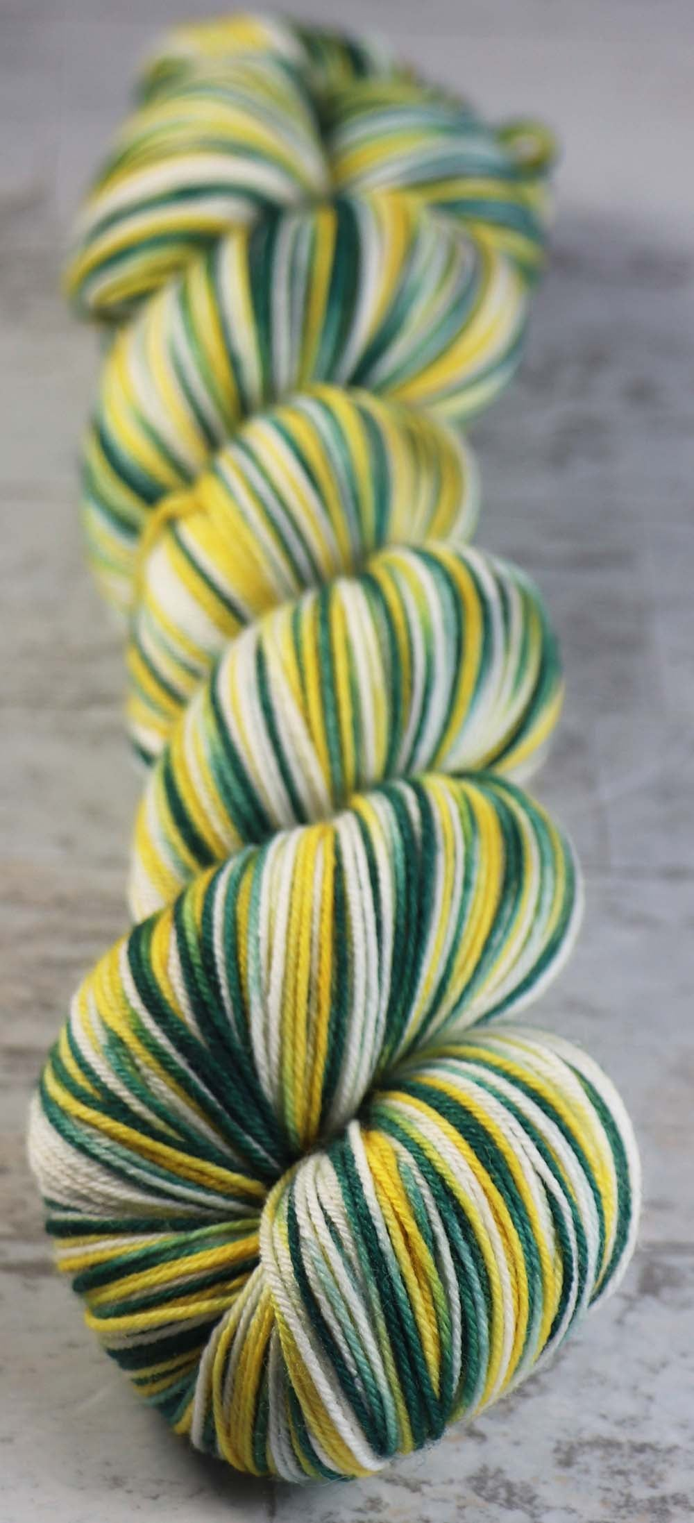 GREEN - GOLD - WHITE: SW Merino-Nylon - Hand dyed Variegated - sport team sock yarn - GREEN BAY, OAKLAND