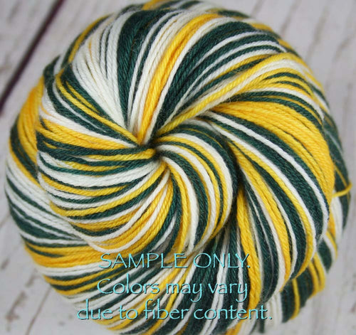 Dyed-To-Order: GREEN-GOLD-WHITE - Hand dyed Sports Team Self Striping Sock Yarn - GREEN BAY, OAKLAND