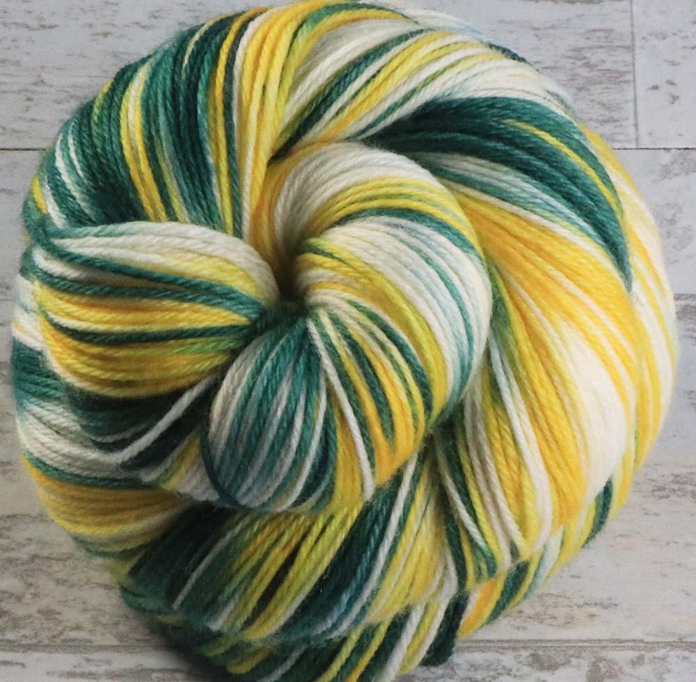 GREEN - GOLD - WHITE: SW Merino-Nylon-Cashmere - Hand dyed Variegated - sport team sock yarn - GREEN BAY, OAKLAND