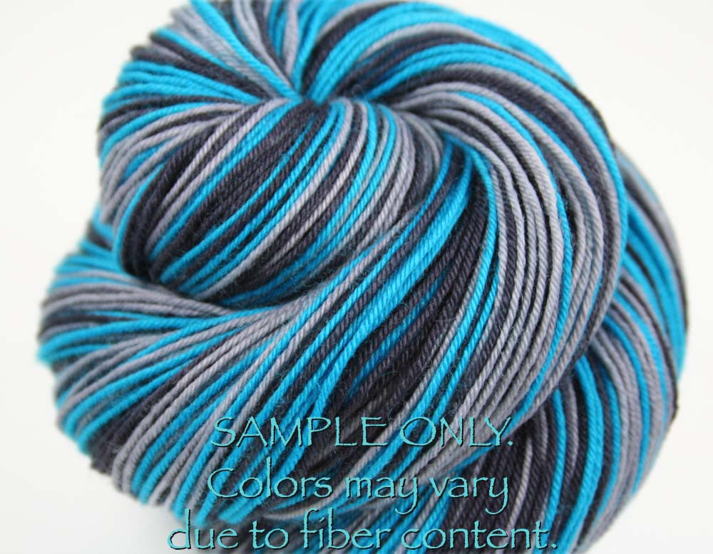 Dyed-To-Order: BLUE-BLACK-GRAY - Hand dyed Sports Team Self Striping Sock Yarn - CAROLINA