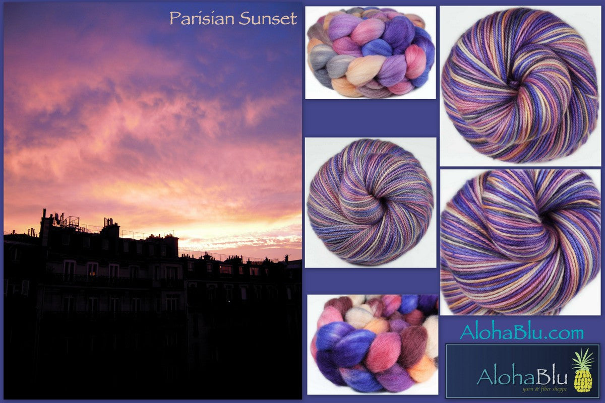 PARISIAN SUNSET: SW Merino-Nylon Sport weight yarn - Hand-dyed Variegated - Paris