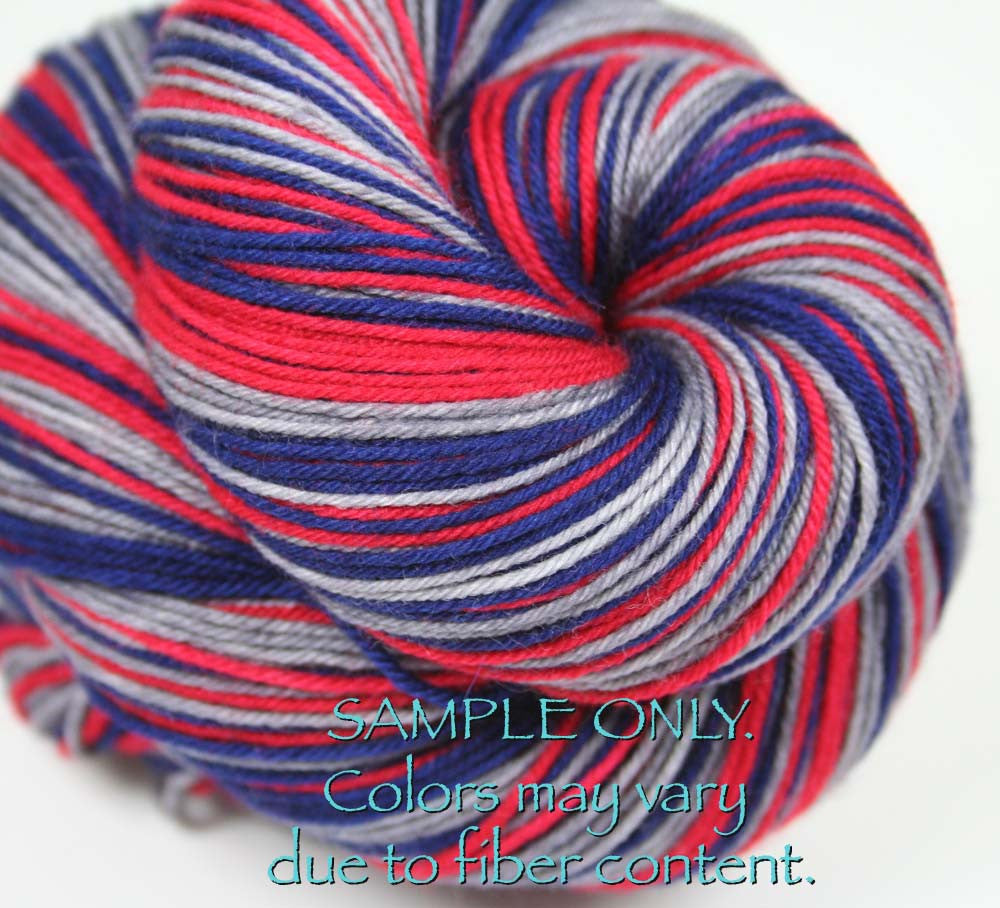 "Dyed to Order: Sports inspired Self-striping Sock Yarn - ""BLUE - RED - GRAY - WHITE"" - Hand dyed yarn - Indie dyed yarn - Team colors - Football yarn - Baseball Basketball Racing Hockey Soccer yarn - School colors yarn - NEW ENGLAND, COLUMBUS"