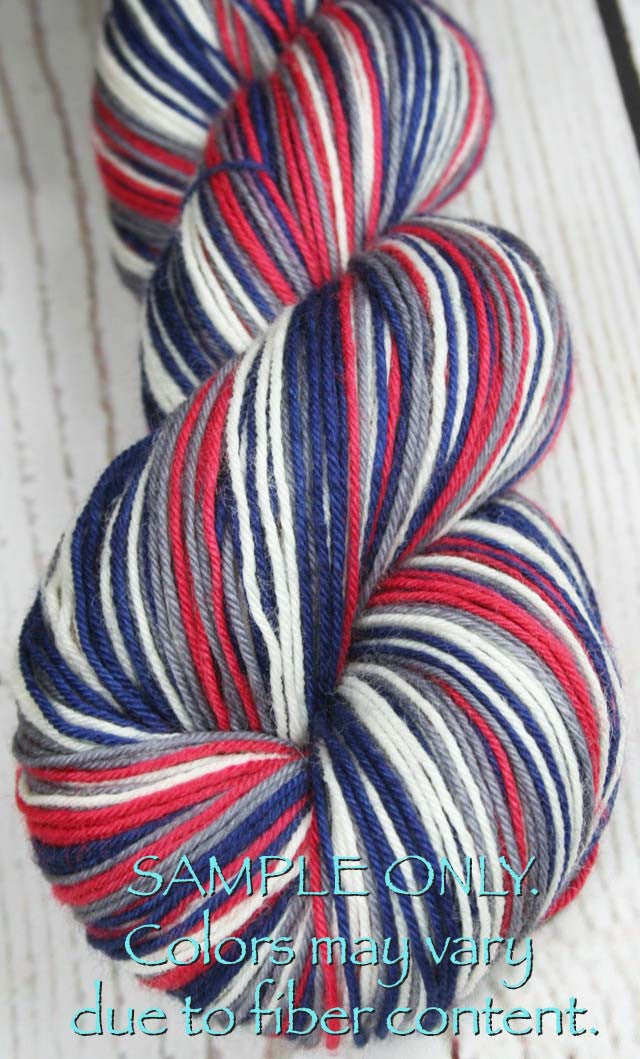 Dyed-To-Order: BLUE-RED-GRAY-WHITE - Sports Team Self Striping Sock Yarn - NEW ENGLAND, COLUMBUS