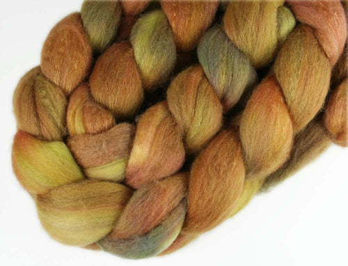 PIETA ALCOVE: Merino-Silk Roving - 4 oz - Hand dyed wool - Indie dyed wool - Hand dyed roving - Brown orange green wool - Pieta inspired