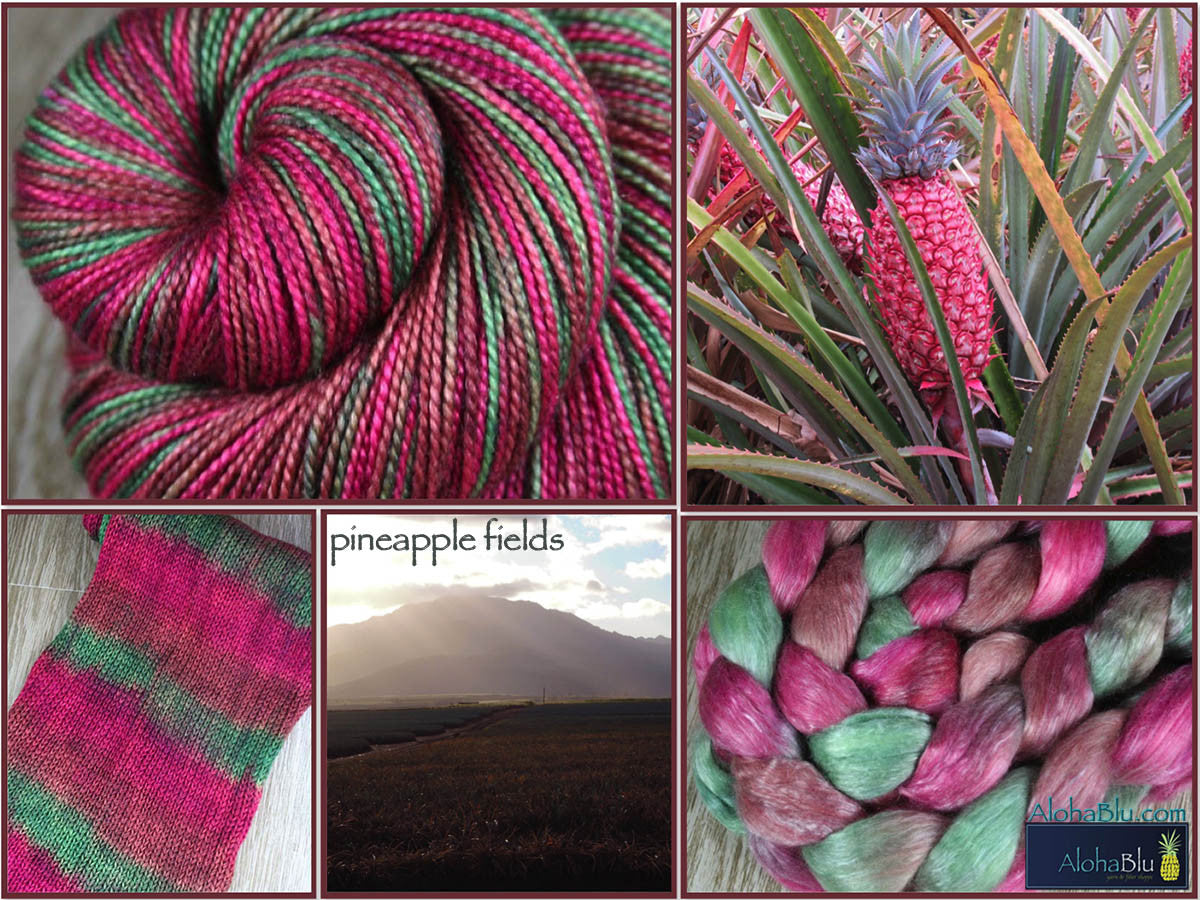 PINK PINEAPPLE / PINEAPPLE FIELDS: Superwash Merino - Worsted Weight Yarn - Hand dyed Variegated Yarn - tropical colors