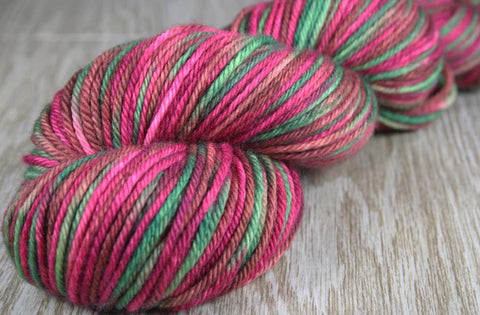 HIBISCUS COLLECTION: Superwash Merino - Worsted Weight Hand dyed Variegated Yarn