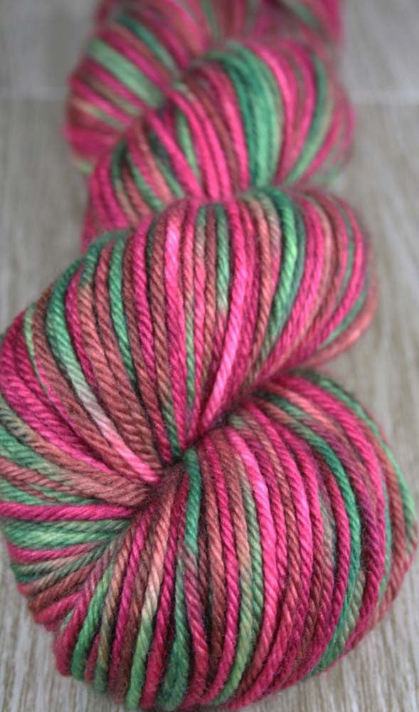 PINK PINEAPPLE / PINEAPPLE FIELDS: SW Merino - Worsted Weight Hand dyed Variegated Yarn - tropical