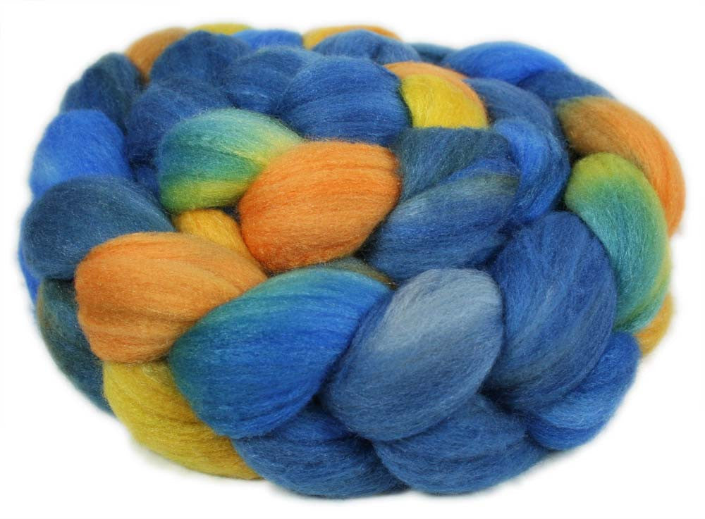 PORTOFINO: Merino / Silk roving - 4.0 oz - Hand dyed wool Italy themed wool