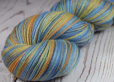 MANGO SORBET: Superwash Merino-Silk-Stellina Sparkle Lace yarn - Hand-dyed Tonal Tropical fruit yarn