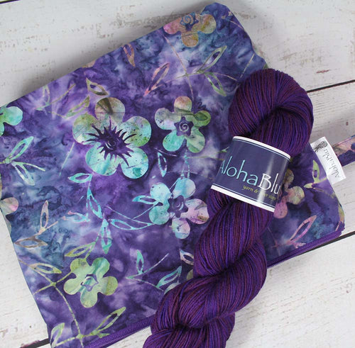 Purple Flowers Batik Yarn Kit - Handmade zipper project bag - Handdyed sock yarn