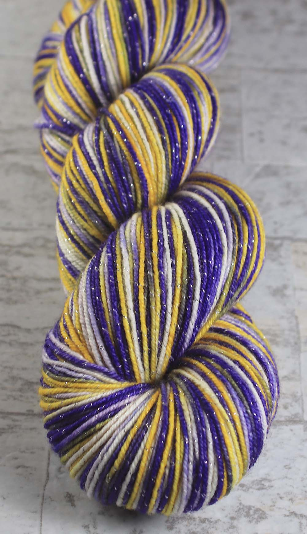PURPLE - GOLD - WHITE: SW Merino-Lurex - Hand dyed Sparkle Variegated - sport team sock yarn - LOUISIANA, LOS ANGELES, MINNESOTA