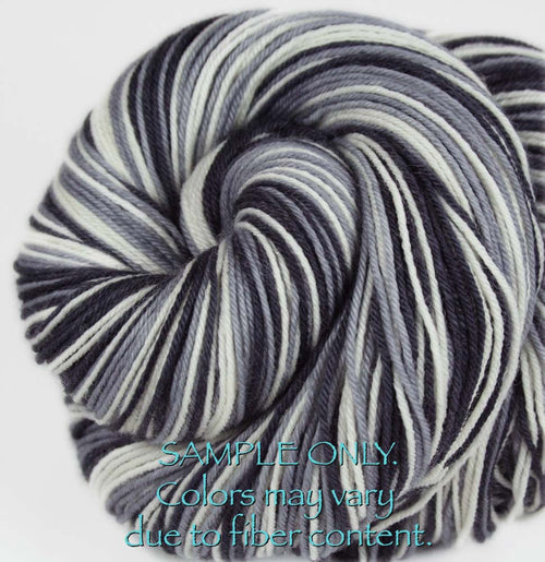 "Dyed to Order: Sports inspired Self-striping Sock Yarn - ""BLACK - GRAY - WHITE"" - Hand dyed yarn - Indie dyed yarn - Team colors - Football yarn - Baseball Basketball Racing Hockey Soccer yarn - School colors yarn - OAKLAND, SAN ANTONIO"