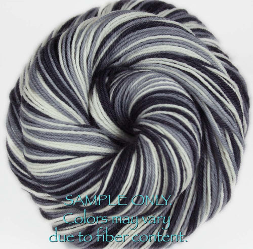 Dyed-To-Order: BLACK-GRAY-WHITE - Hand dyed Sports Self Striping Sock Yarn - OAKLAND, SAN ANTONIO