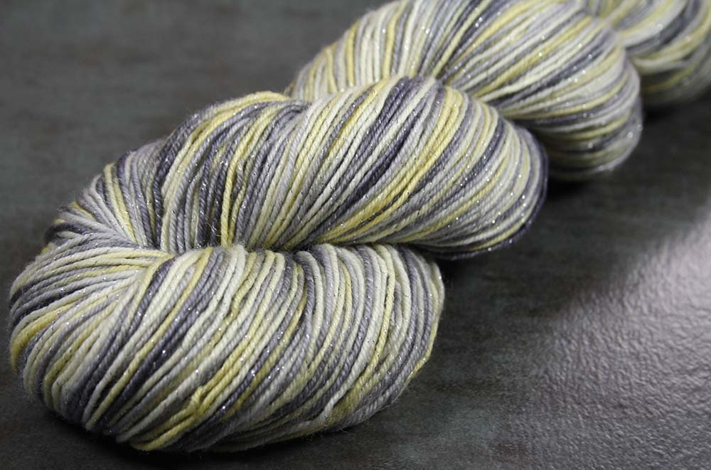 RAINY DAY EIFFEL: SW Merino-Lurex - Hand dyed Variegated Sparkle Sock yarn