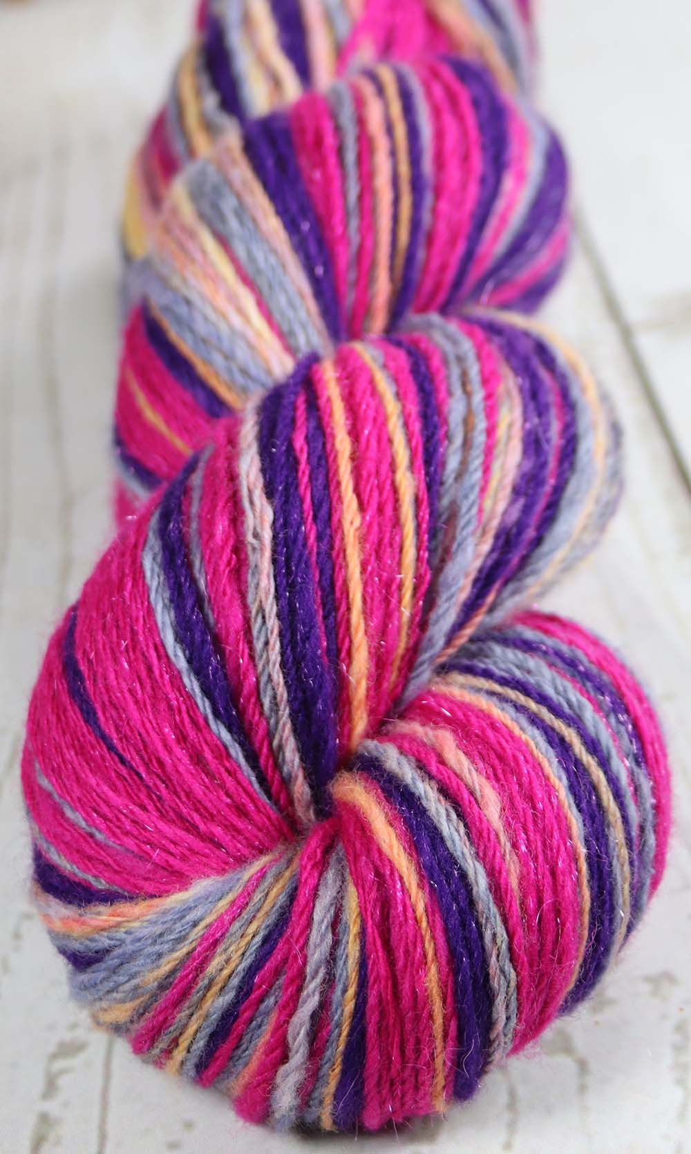 RASPBERRY BERET loves PURPLE RAIN - Hand dyed, hand spun DK yarn