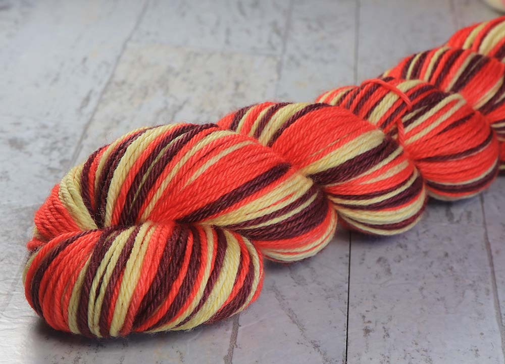 RASPBERRY MACARON 2: Superwash Merino - Worsted Weight - Hand dyed Self-Striping yarn