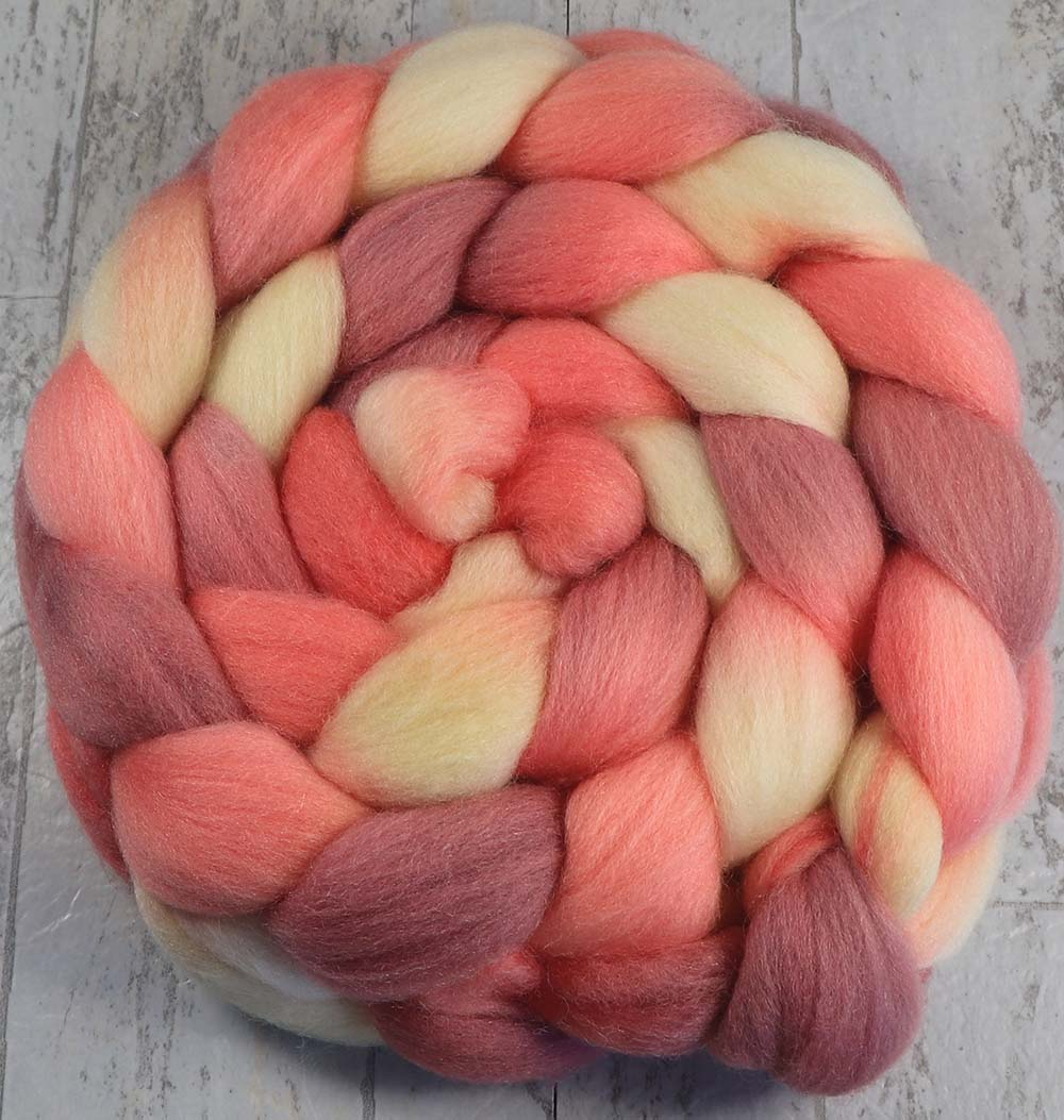 RASPBERRY MACARON 2: Polwarth Silk - 4.0 oz - Hand dyed wool roving