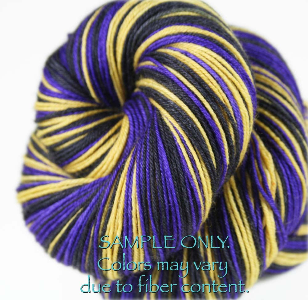 "Dyed to Order: Sports inspired Self-striping Sock Yarn - ""PURPLE - GOLD - BLACK"" - Hand dyed yarn - Indie dyed yarn - Team colors - Football yarn - Baseball Basketball Racing Hockey Soccer yarn - School colors yarn - BALTIMORE"