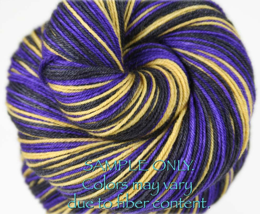 Dyed-To-Order: PURPLE-GOLD-BLACK - Hand dyed Sports Team Self Striping Sock Yarn - BALTIMORE