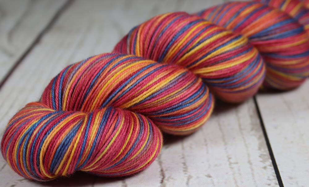 REBEL BOWIE RED: SW Merino-Nylon - Hand dyed Variegated sock yarn