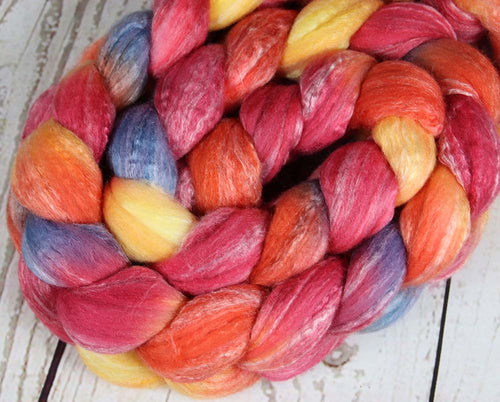 REBEL BOWIE RED: Merino-Bamboo-Silk roving - 4.0 oz - Hand dyed spinning wool