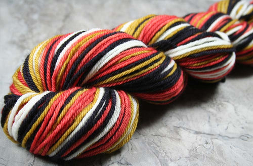 REDDINGITE: Superwash Merino - Worsted Weight Yarn - Hand dyed - Self-Striping Mineral Gemstone yarn