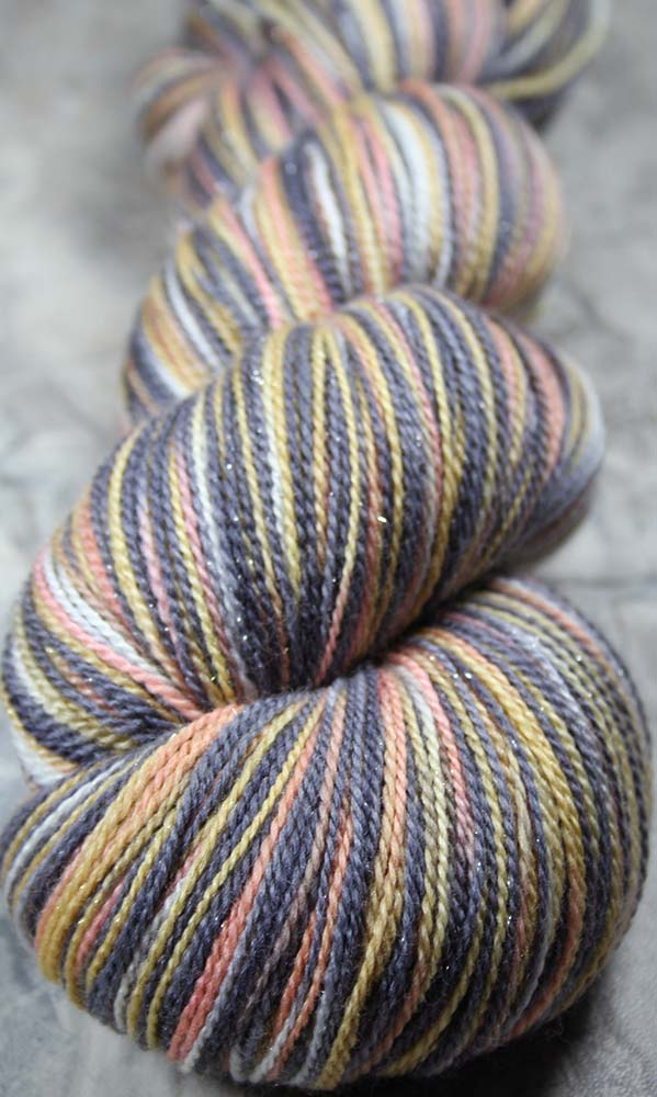 REDDINGITE: Superwash Merino-Silk-Stellina Sparkle - Hand-dyed Lace Weight Yarn - 875 yards - Variegated lace yarn - Pastel