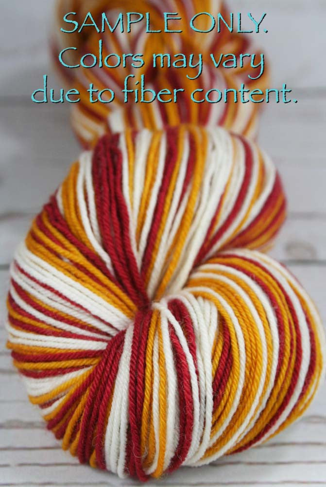 "Dyed to Order: Sports inspired Self-striping Sock Yarn - ""RED - GOLD - WHITE"" - Hand dyed yarn - Indie dyed yarn - Team colors - Football yarn - Baseball Basketball Racing Hockey Soccer yarn - School colors yarn - WASHINGTON DC"