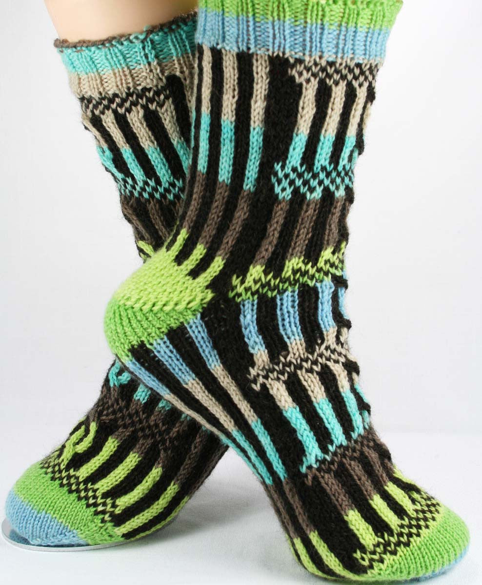 KNITTING PATTERN for Roman Forum Socks - Charted Sock pattern - digital download - Colorwork Stranded knitting