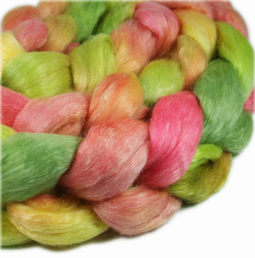 ROOM SERVICE ORCHID: Merino-Tencel Roving - 4.0 oz - Hand dyed wool - hand dyed roving - spinning wool - Hawaii themed wool - pink green