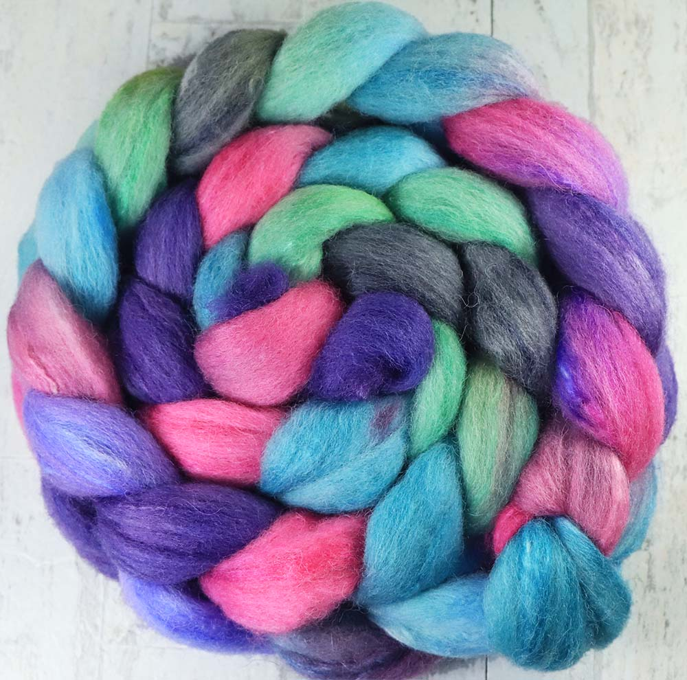 ROSE WINDOW: Shetland-Silk roving - 4.0 oz - Hand dyed spinning wool