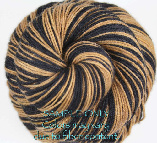 Dyed-To-Order: BLACK-BRONZE GOLD - Hand dyed Sports Team Self Striping Sock Yarn - NEW ORLEANS